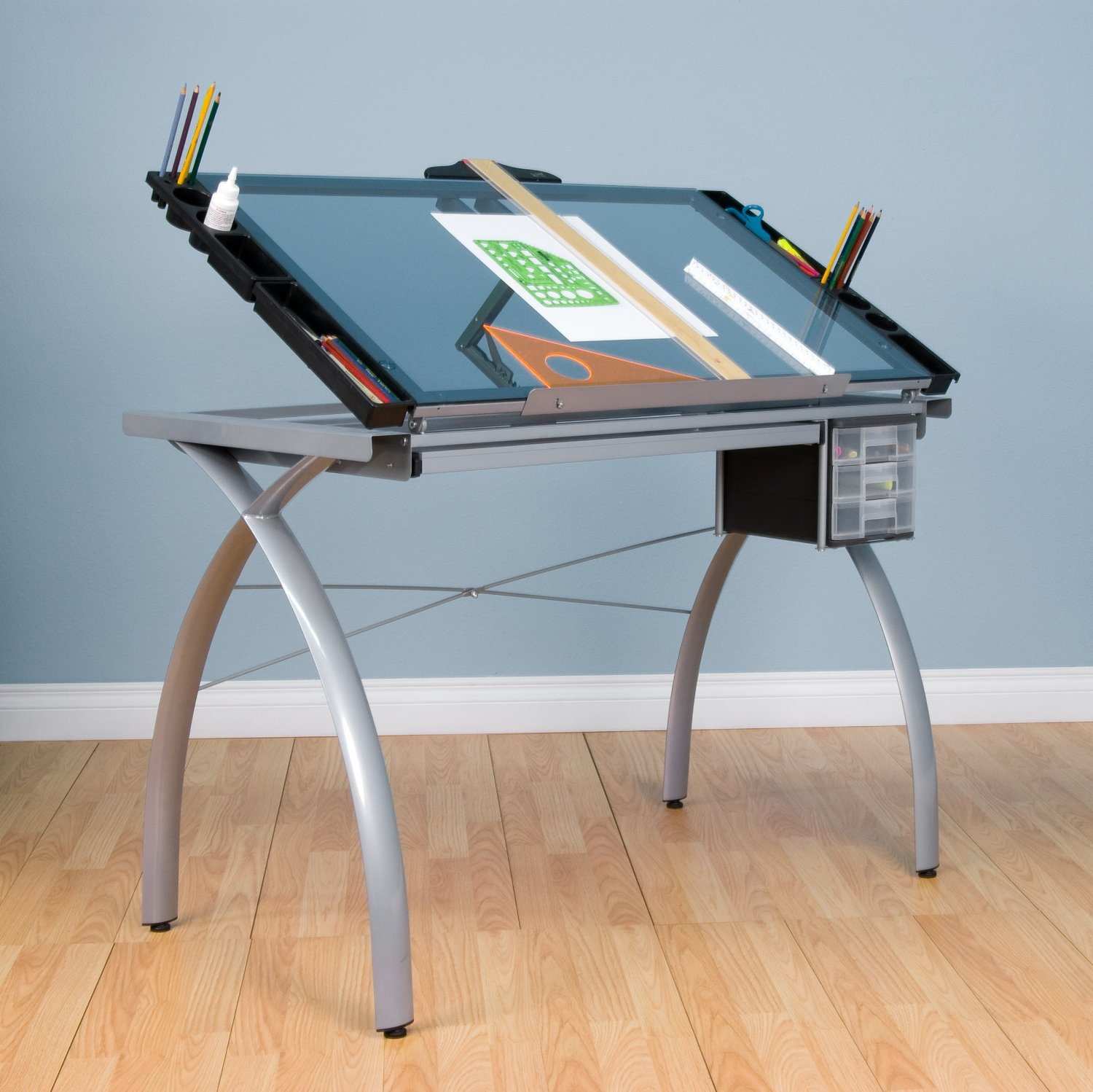 Transpa Gl Platform Drafting Desk With Pencils Placement Sides