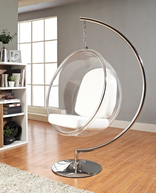 Transparent Round Hanging Chair Stainless Steel Hanging Chairu0027s Holder  White Pads For Hanging Chair Light Grey