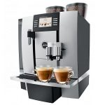 two hot and delicious cups of coffee professional coffee equipment with two direct water lines two tubes for coffe beans