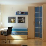 unique curved wood and blue wardrobe black office chair wood floating desk white framed window white curtain white table lamp hardwood flooring wood bed frame blue drawer blue bed sheet blue floating shelf