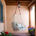 web white rattan hanging chair for outdoor blue and white pillows for hanging chair castle-form hanging lamp vivid colorful plants