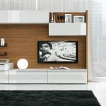 white TV console white elegant TV console  large TV console big-size TV console cozy modern entertainment center black-white entertainment center soft-black velvet carpet wood-combined TV console twin leather chairs