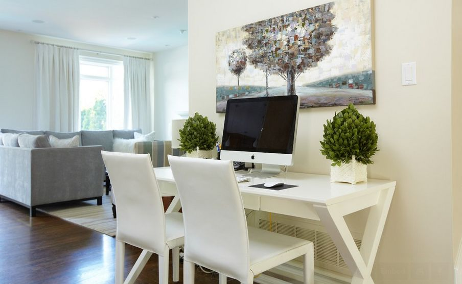 office desk in living room. White Office Space Design With Living Room Area Feat Ravishing Gray Sofa And Potted Plant Desk In