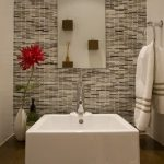 White Square Sink Wood Vanity White Vase Slim Rectangular Mirror White Towel Metal Ring Hook Shades Of Grey Mosaic Tiles Wall White Wall Wood Wall Mounted Square Pots