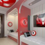 white tiled flooring red bed divider white bed frame with red drawers striped wallpaper downlights dark wood door unique red round wall lamp white ceiling car race bedroom theme
