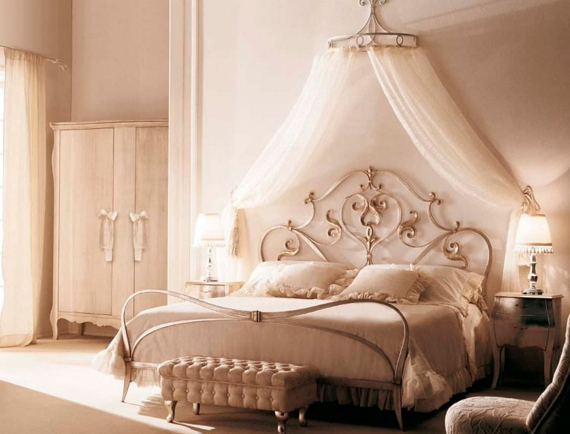 white wardrobe cream console chair white wall white curtain elegant gold canopy bed white bedding set