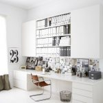 winning white home office with wonderful wallmount bookshelve also artistic magazine decor in white laminate flooring