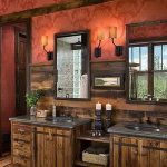 Wonderful Bathroom Concept With A Touch Of Red Wall Decoration Also Classic Wooden Cabinet And Luxurious Undermount Sin With Granite Top For Traditional Hosue Idea