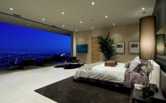wonderful beroom idea wih city view feat elegant cream wall decoration with white laminat flooring and soft black rug