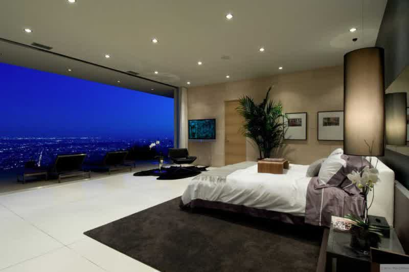 wonderful beroom idea wih city view feat elegant cream wall decoration with white laminat flooring and soft black rug