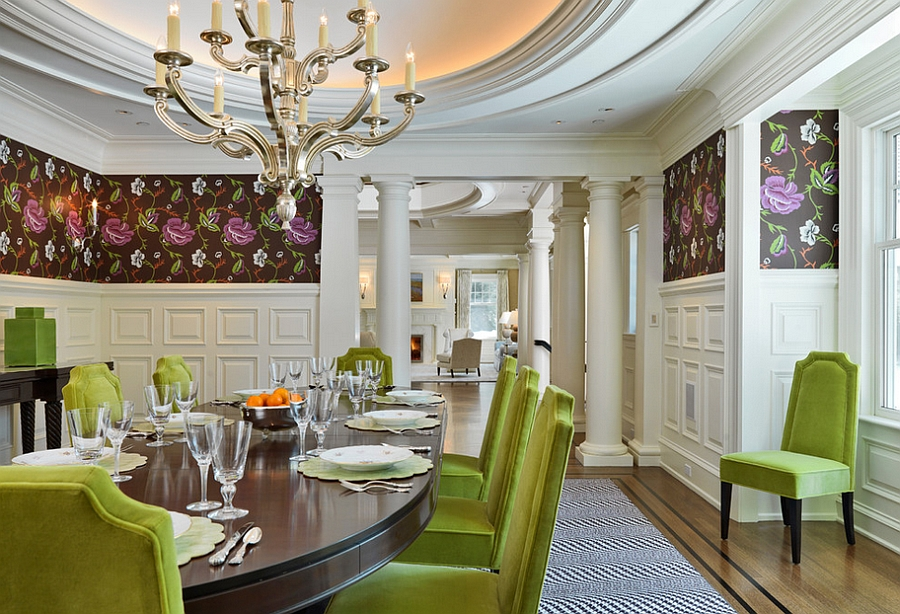 Wonderful Dining Room Idea With Fresh Lime Chairs And Glossy Top Table For  Dining Feat Elegant