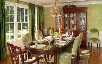 wonderful dining room idea with refreshing green wallpaper also interesting dark green curtains with cozy green seating and large turkey rug in laminate flooring
