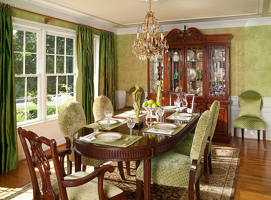 Creating Wonderful Dining Room With Refreshing Green ...