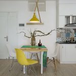 wonderful dining set furniture with elegant white and yellow chairs also eclectic scone with excellent white wall feat unique colorful backsplash in laminate flooring