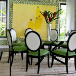 wonderful green dining room idea with astonishing yellow accent on the wall with refreshing green chairs and warm large rug with decorative wallpaper idea in laminate flooring