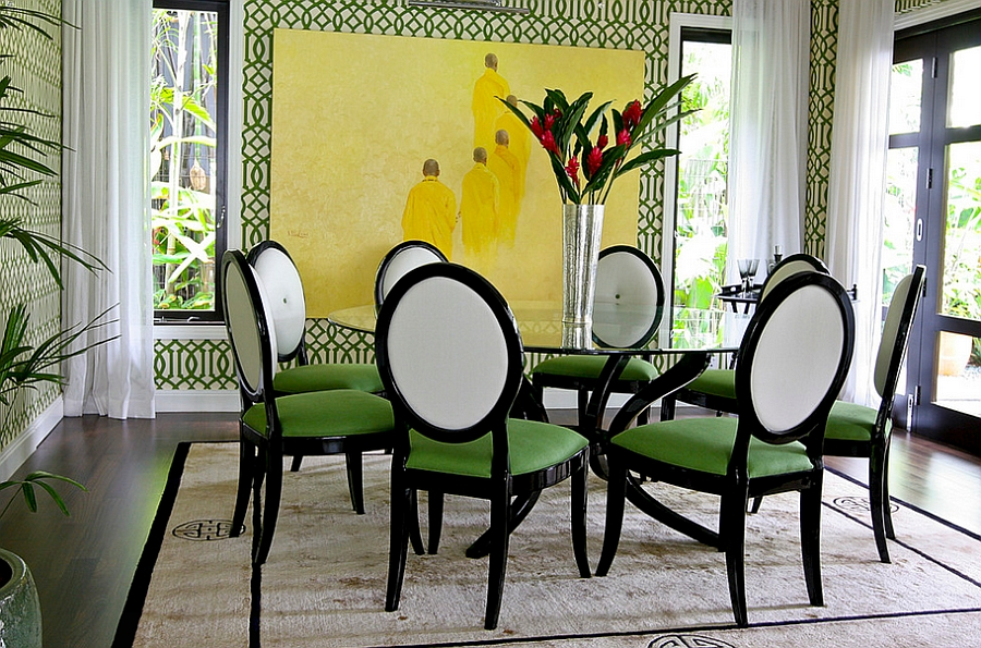 Wonderful Green Dining Room Idea With Astonishing Yellow Accent On The Wall Refreshing Chairs