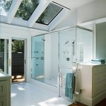 wonderful idea of bathroom with soft blue accent and ravishing glass shower room also aluminum towel rack with large bathroom cabinet