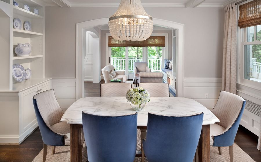 Wonderful Idea Of Dining And Living Room Area With Eclectic Blue Chairs  Also Ravishing Marble Top