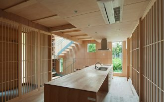 wonderful kitchen in japanese style with wonderful wooden countertop and elegant clustered wall panel in hardwooden flooring