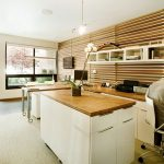 wonderful office design with stripes wooden wall panel also ravishing wooden top table and white cabinet with elegant large glass window in hardwooden flooring concept