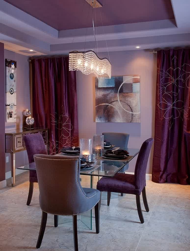 Wonderful purple dining room idea with xozy fabric dining chairs also