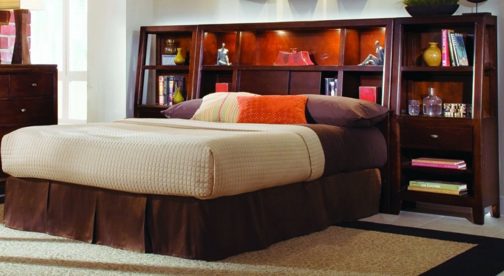 Wood Headboard With Extra Large Shelves And Cabinetry Units Cozy And Thick  Mattress Colorful Pillows. King Size ...
