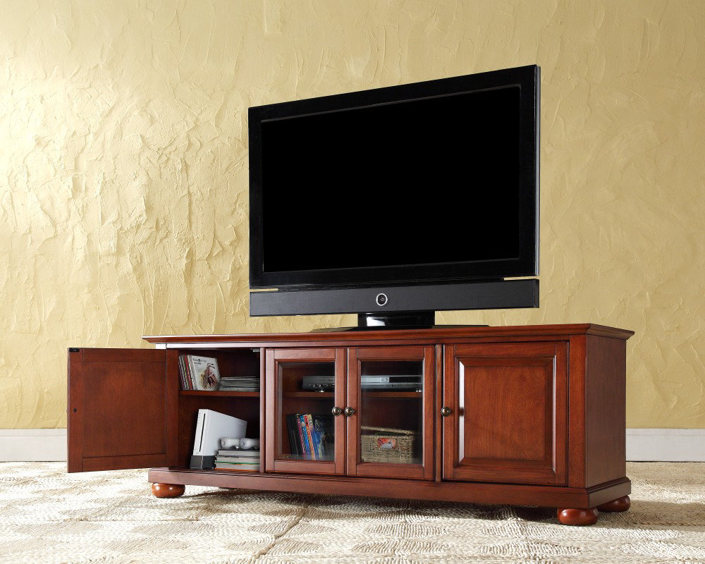Wood Media Console Furniture ~ Low profile media console optimize the entertainment room
