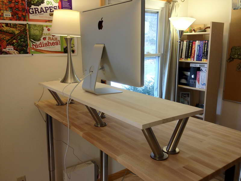 wood platform of standing desk apple computer set simple minimalist table lamp artistic standing lamp book diy home office desk recycled