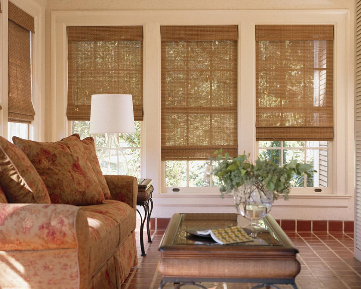 Wood Woven Window Treatment Cozy Sofa In Beautiful Patterns Subway Tiles  Floor Look Like Red Bricks
