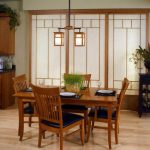 Japanese style sliding door with white shades a set of wooden dining furniture artful Japanese pendant light fixture