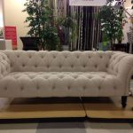 Nicole Miller's sofa design in light grey