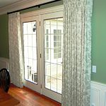 S wave window curtain with green patterns for large French door hardwood flooring with clear lines