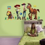 Toy-Story-characters wall stickers single bed furniture with shelves and cabinetry headboard  for little girl green bedcover and mattress