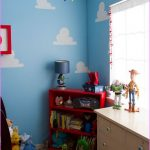 Toy Story figures ornaments placed on the under window cabinet red shelving unit small table lamp with blue-cap red boot shoes ornament cute bear dolls collection blue-sky theme wallpaper