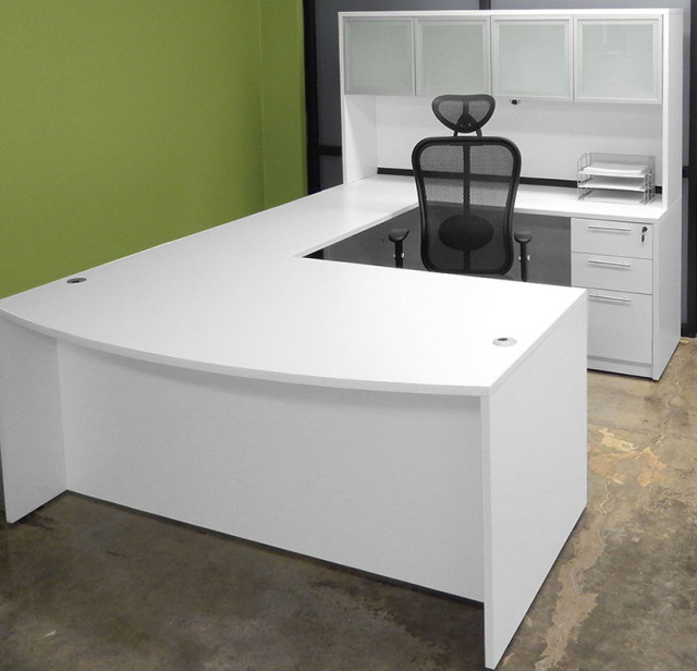 U Shape White Office Desk With Large Storage