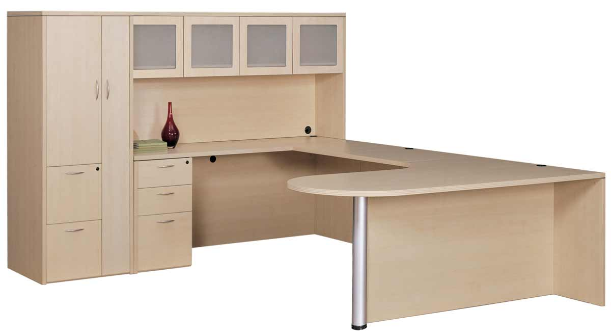 A Very Large U Shaped Desk With Three Types Storage Systems In Light Brown  Color
