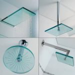adorable cool fantastic nice wonderful fantastic futuristic cool shower head with round and square design make of glass concept with mounted design