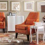 Adorable Creative Moern Nice Elegant Small Chairs For Living Room With Nice Design With Orange Accent With Four Legs