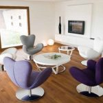 adorable nice wonderful desing coolest colourful-Designer-Chairs-For-Living-Room with beans shaped concept and has nice round table
