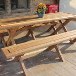 adorable wonderful awesone nice cute cool picnic-table-plans-separate-benches with wooden made design concept and has small flower decoration