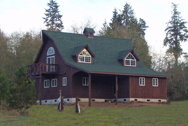 Amazing Adorable Cool Modern Nice Barn House Design With Wooden Made Concept Red Wall Accent