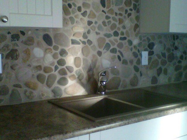 Perfect Kitchen Backsplash With River Rock   Creative Design River Rock Backsplash  For Kitchen