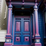 amazing nice adorable fanstastic awesome cute cool front door idea with purple and pink color concept design with stair design