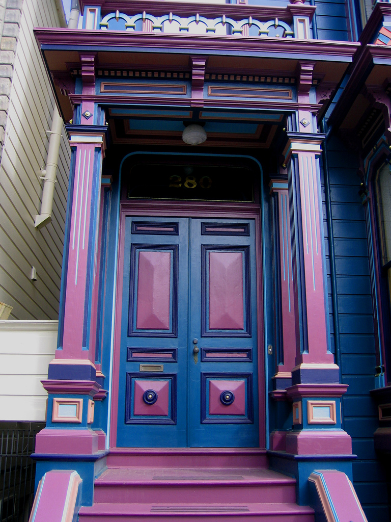 Amazing Nice Adorable Fanstastic Awesome Cute Cool Front Door Idea With  Purple And Pink Color Concept