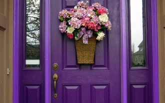 amazing nice wonderful cool fantastic awesome cool front door idea with old purple and young purple accent design with flower decoration