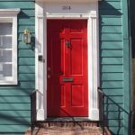 attractive nice wonderful cool awesome cool front door idea with small red wooden made concept design with green house wall
