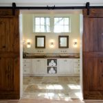 barn door for bathroom in hardwood material