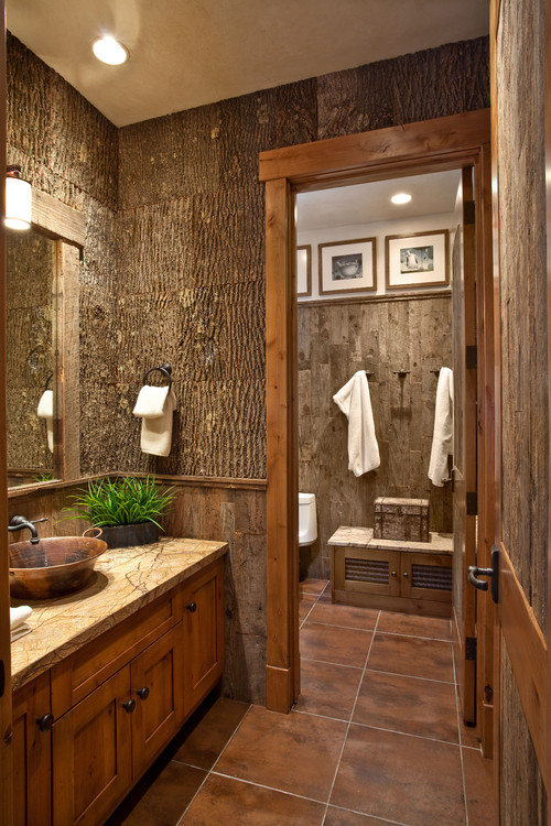 Bathroom Design In Rustic Theme Hardwood Vanity With Copper Sink And Faucet Large Brown Ceramic