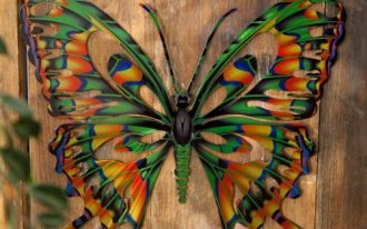 beautiful and colorful butterfly decoration for outdoor fence