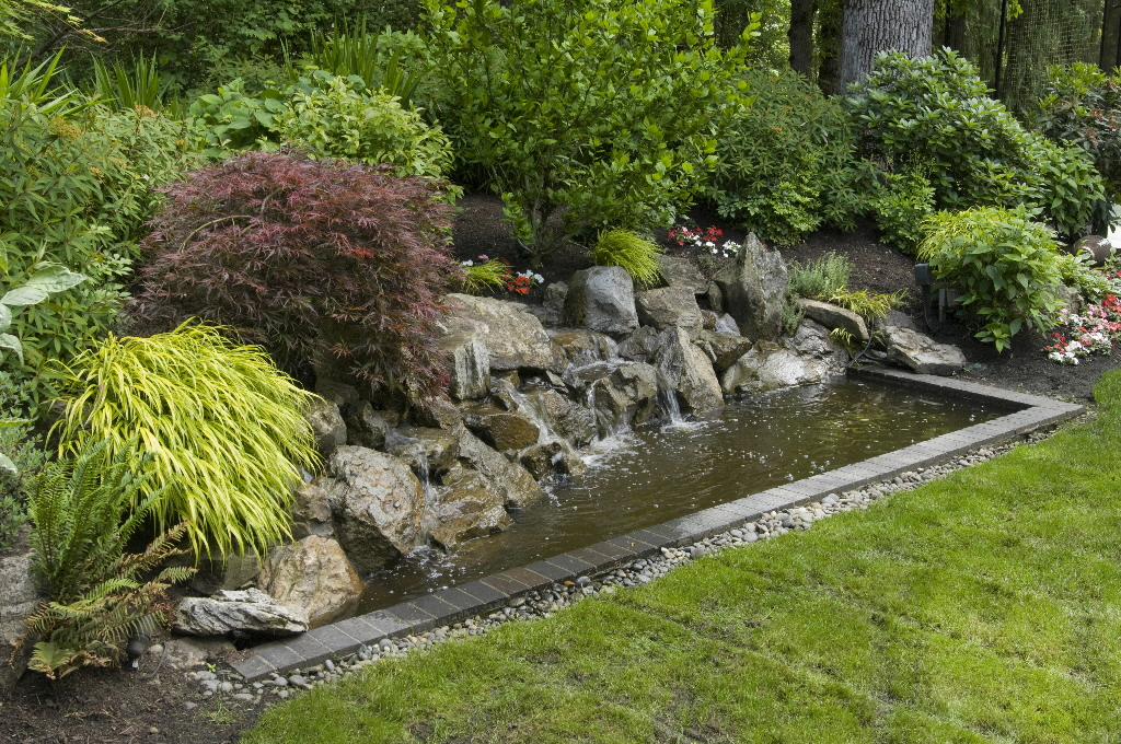 Beautiful Garden With Natural Pond Full Of Stones Decoration Green Grass Floor
